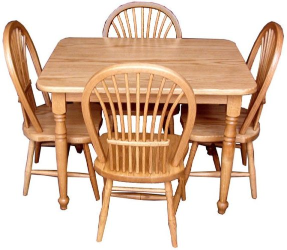 Solid Oak Child Table Set with 4 Sheaf Chairs