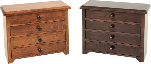 Amish 12 inch Shaker Jewelry Cabinet QSWO and Brown Maple