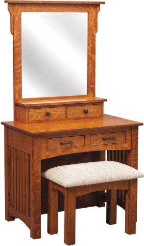 Amish 36 inch Mission Dressing Table Quarter Sawn White Oak