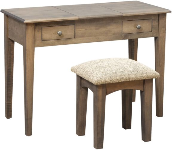 Amish 42 inch Shaker Vanity Dressing Table Brown Maple