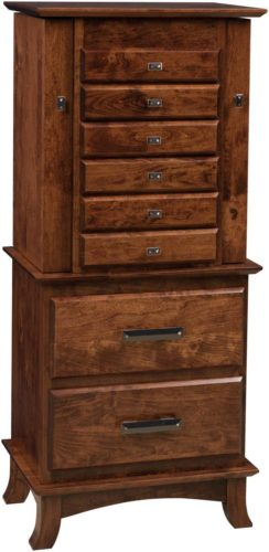 Amish 48 inch Split Shaker Jewelry Armoire Rustic Cherry