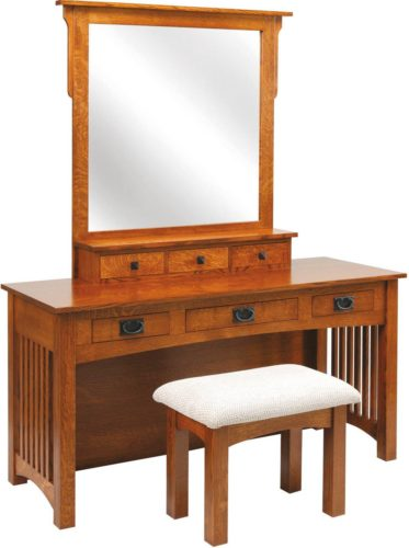 Amish 60 inch Mission Dressing Table Quarter Sawn White Oak