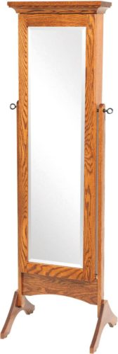 Amish Standing Shaker Mirrored Jewelry Armoire