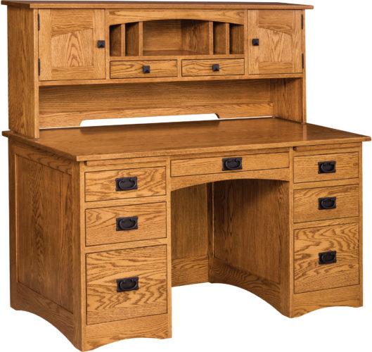 56 Inch Oak Mission Flat Top Desk with Desk Organizer
