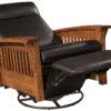 Amish Hoosier Swivel Reclining Glider Fully Reclined