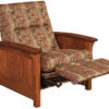 Amish Skyline Panel Recliner Partially Reclined