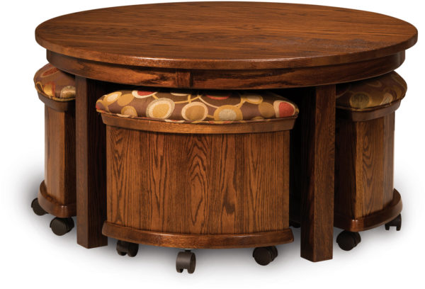 Amish 5 PC Round Table Bench Set