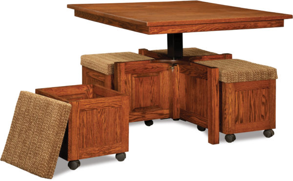 Amish 5pc Square Table Bench Set Open