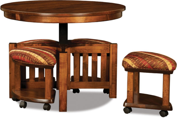 Amish 5 pc Round Table Bench Set Open Seat