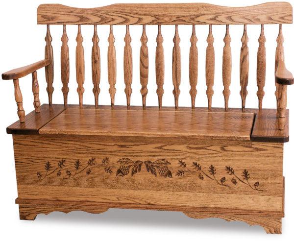 Amish Royal Arrow Acorn Bench