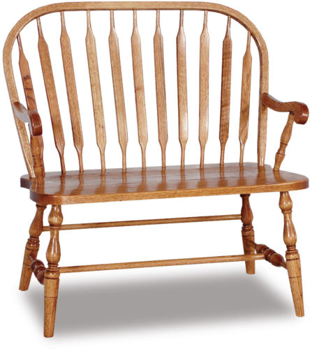 Amish Bent Paddle Bow Bench Side