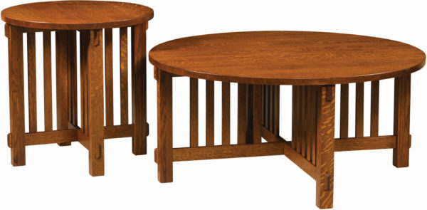 Amish Rio Mission Round Occasional Table Set
