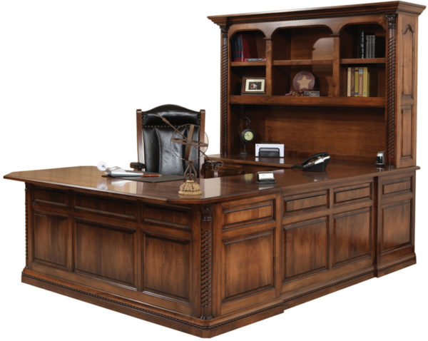 Amish Lexington U-Shape Desk and Hutch