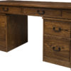 Amish Noble Mission Library Desk with Mobile Pedestals
