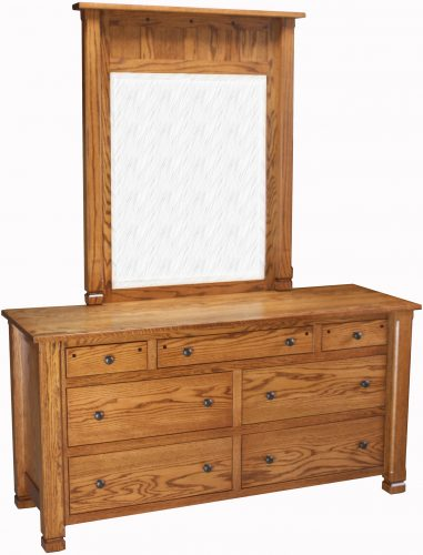 Amish Brockport 7 Drawer Dresser with Mirror