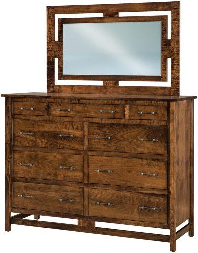 Amish Brown Maple Lakota Nine Drawer Dresser