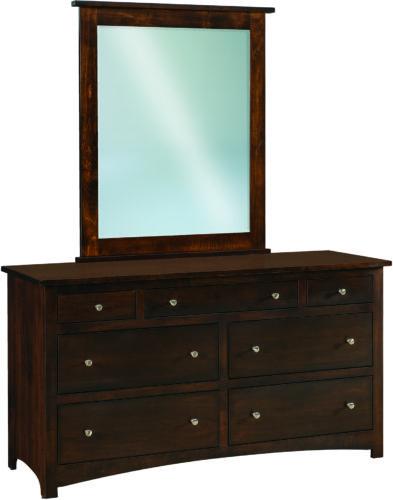 Amish Brown Maple Shaker Wide 7 Drawer Dresser
