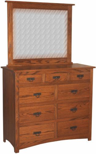 Narrow Amish Shaker Nine Drawer Mule Dresser with Mirror
