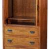 Amish Shaker Hickory Wood Armoire with Pocket Doors