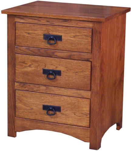 Amish Shaker Hickory Three Drawer Nightstand