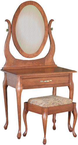 Cherry Queen Anne Dressing Table with Mirror