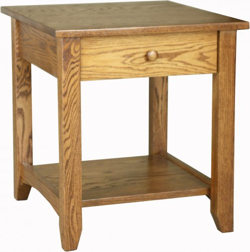 Amish Large Shaker Open Oak End Table
