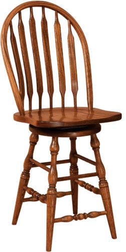 Amish Bent Paddle Hardwood Swivel Bar Stool