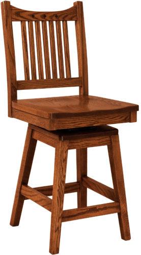 Amish Royal Mission Hardwood Swivel Bar Stool