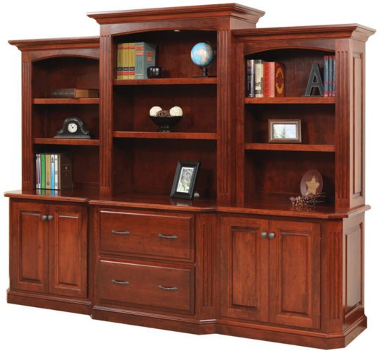 Amish Buckingham 98 Inch Base and Three Piece Hutch