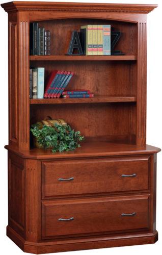 Amish Buckingham Lateral File with Bookshelf