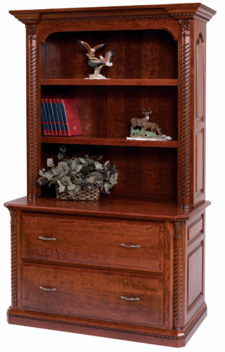 Amish Lexington Lateral File with Bookshelf