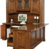 Amish Lincoln Deluxe Corner Desk with Hutch Open