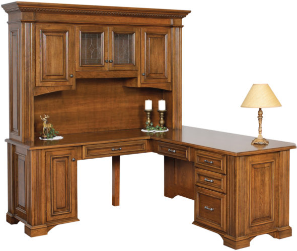 Amish Lincoln Deluxe Corner Desk with Hutch