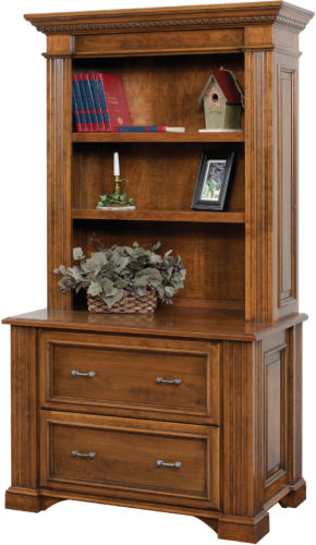 Amish Lincoln Lateral File Cabinet with Bookshelf