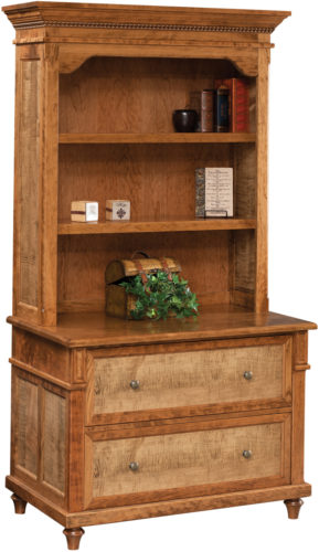 Amish Bridgeport Lateral File Cabinet and Hutch