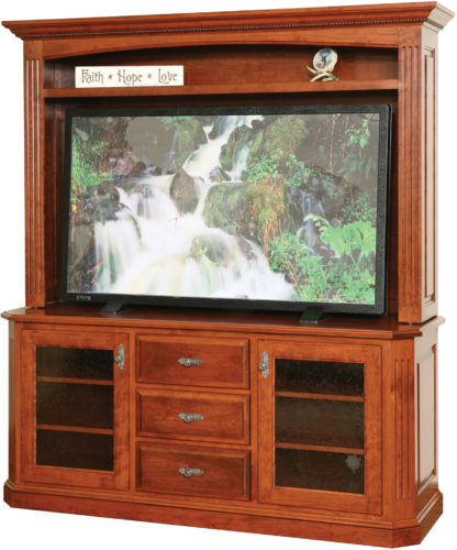 Amish Buckingham 68 Inch Plasma TV Stand with Hutch