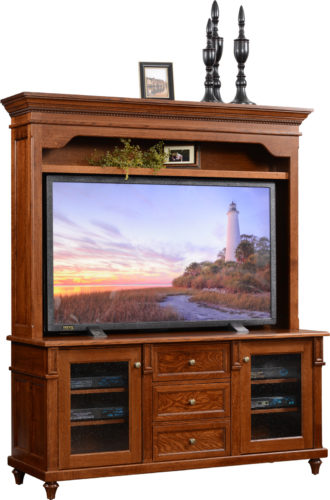 Amish Bridgeport TV Stand with Hutch