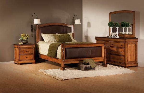 Amish Marshfield Leather Bedroom Set
