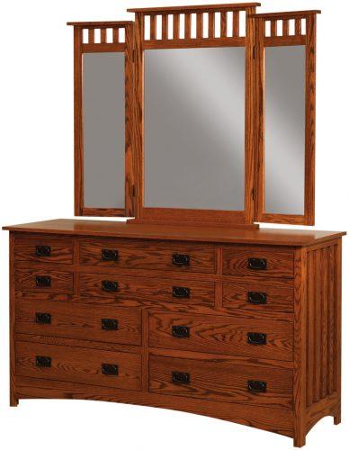 Amish Schwartz Mission 10 Drawer Dresser