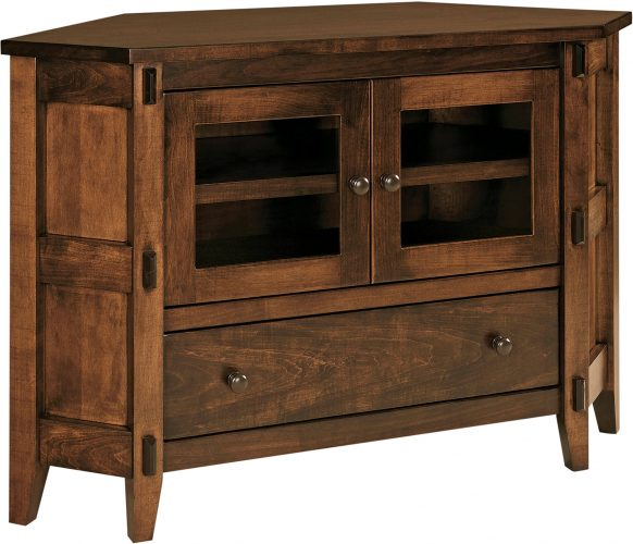 Amish Bungalow Small Corner TV Stand