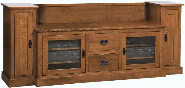Amish Mission Large TV Cabinet with Towers
