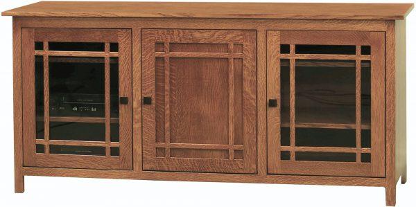 Amish Mission Large Three Door TV Cabinet