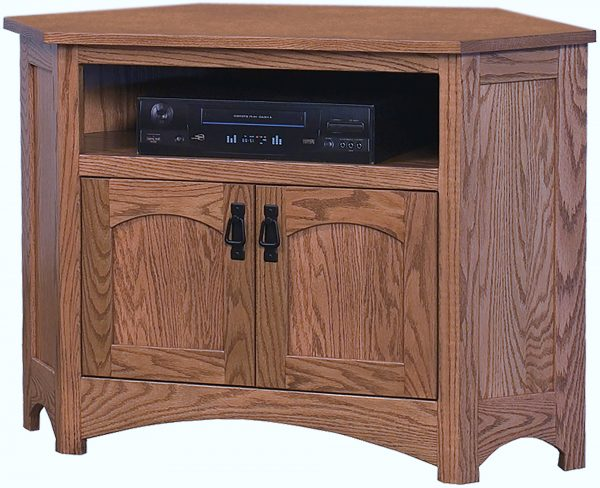 Amish Mission Corner TV Stand with Opening
