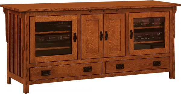 Amish Straight Royal Mission Four Door TV Cabinet