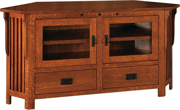 Amish Straight Royal Mission Wide Corner TV Cabinet
