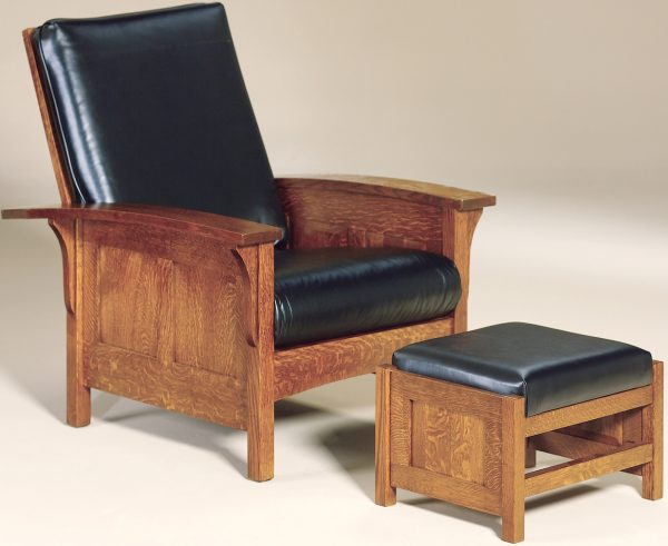 Amish Bow Arm Panel Morris Chair and Footstool