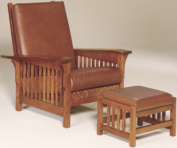 Amish Clearspring Slat Morris Chair and Footstool