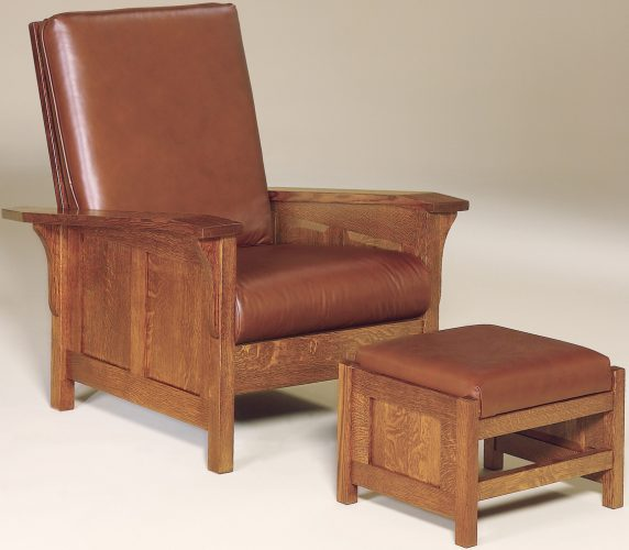 Amish Clearspring Paneled Morris Chair and Footstool