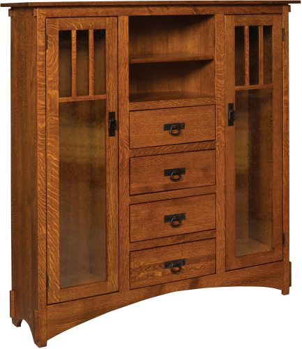 Amish Mission Display Bookcase with Seedy Glass and Drawers