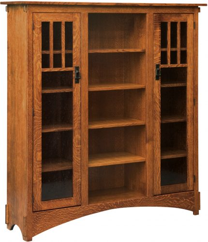 Amish Mission Display Bookcase with Seedy Glass Doors and 12 Shelves